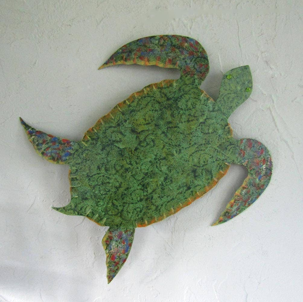 Bathroom wall art sea - Metal Wall Art Sea Turtle Sculpture Ocean Beach House Wall Decor Bright Beautiful Green Blue Bathroom Wall Art Sea Life 13 X 12