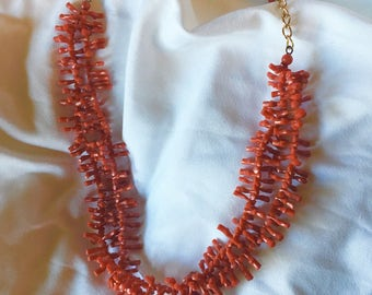 Vintage Faux Red Coral Branch Spokes Double Choker Necklace from Western Germany