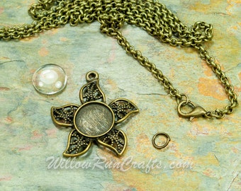10 DIY Set 12mm Flower Pendant Trays with Glass and Chain in Bronze or Silver