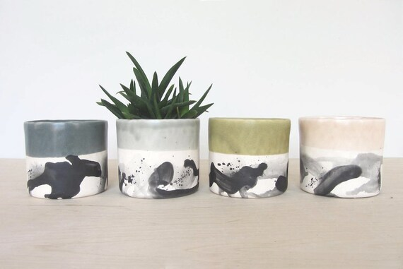 Large Round Splatter Pinched Planter - Made to Order