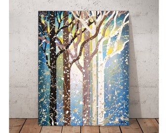 Blue Tree Painting on Canvas, Modern Art Abstract Landscape Painting, Forest Tree Art Winter Decor