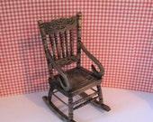Dollhouse  country rocker rocking chair  rocker dark oak rocker miniature chair chair twelfth scale one to one