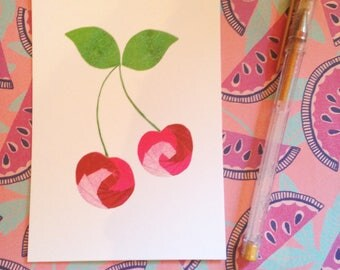 Juicy Cherries - postcard print of original iris folded artwork - measures 6x4 / 15x10