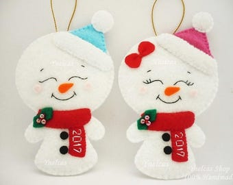 Felt Snowman Christmas Ornament 2017,  Frosty Xmas Tree Decoration - ONE ORNAMENT