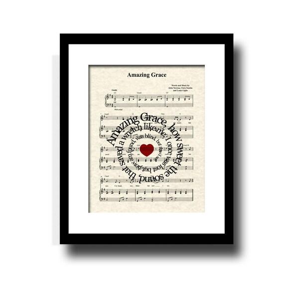 Amazing Grace Sheet Music With Lyrics: Amazing Grace Song Lyric Sheet Music Art Print Inspirational