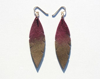 Metallic Dipped Leather Feather Earrings -  Purple Plum Suede and Gold with 14k Gold-Fill