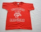 Vintage UW Wisconsin BUCKY BADGER t-shirt Kids size 10-12 1960's 70's usa made
