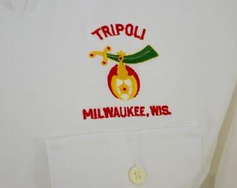 Vintage TRIPOLI SHRINE MILWAUKEE polo shirt medium 1970's 80's
