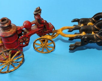 Vintage Cast Iron Horse Drawn Fire Truck or Fire Tanker, 3 Horses
