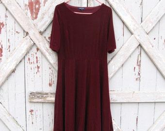 vintage Lands End rich burgundy velvet stretch dress 10 12  M L XL