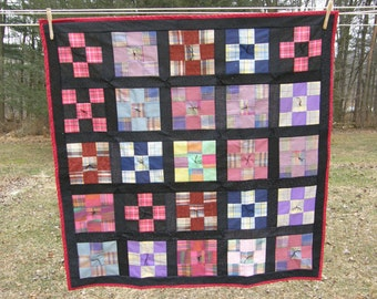 Nine Patch Summer Quilt with Flannel Back