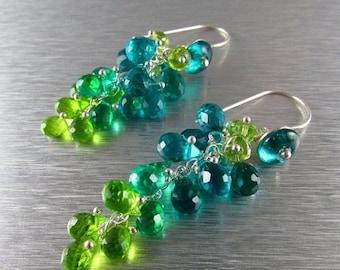 25OFF Colorful Quartz And Peridot Drop Dangle Earrings