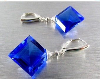 25OFF Cobalt Blue Quartz With Sterling Silver Lever Back Earrings