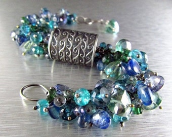 25% Off Anne Choi Wave Bead With Kyanite, Quartz and Apatite Cluster Sterling Silver Wire Wrapped Bracelet