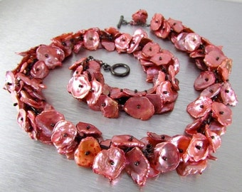 25% Off Salmon Pink Keishi Pearl and Oxidized Sterling Silver Necklace
