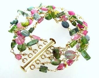 Watermelon Tourmaline Gold Filled Bracelet, Multi Strand Tourmaline Bracelet