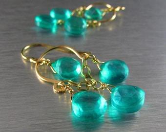 Petite Aqua Green Quartz Gold Filled Chandelier Earrings