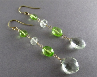 25 % OFF Green Amethyst With Peridot Quartz Gold Filled Dangle Earrings