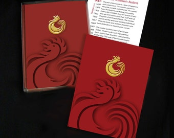 Rooster Greeting Cards, New Year's Cards - Single Cards