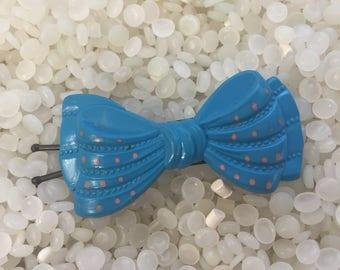 vintage  barrette ture blue bow with pink polka dots, childrens barrette,