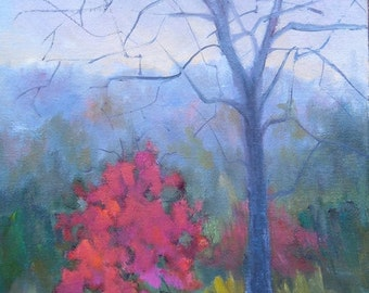 """Autumn Landscape Painting, Tree Painting, Small Oil Painting, 9x12"""" Landscape Oil Painting,"""" Big Brother"""", Free Shipping in US"""