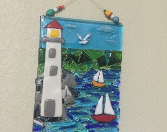 Lighthouse sailboats seascape fused art glass plaque wall hanging