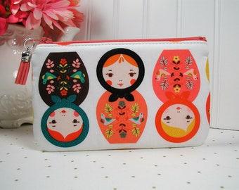 Small Zipper Pouch, Zipper Purse, Planner Pouch, Journal Pouch.. Little Kukla Retro, Matryoshka Dolls