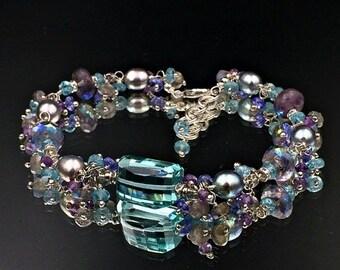 50% SALE Aqua Gemstone Bracelet Sterling Silver Wire WrapLuxury Cluster Bracelet Mystic Amethyst Apatite Labradorite Tanzanite Aqua Quartz G