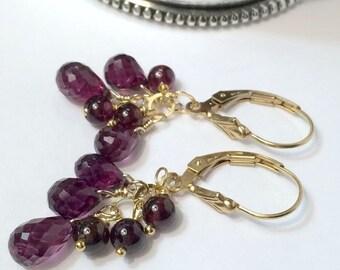 30% SALE Rhodolite Garnet Earrings, Genuine Gemstone Raspberry 14kt Gold Fill, Wire Wrapped Cluster Dangle, Minimalist Jewelry, January Birt