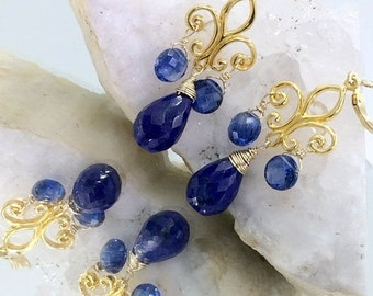 PRESIDENTS DAY SALE Blue Lapis Chandelier Earrings, Gold Fleur de Lis, Wire Wrap Blue Lapis Kyanite Earrings, Boho Chic, Bohemian Luxe Earri