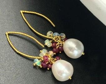 SPRING SALE Ruby Pearl Earring Ruby Opal Cluster Long Dangle Earring Gold Vermeil Elongated Pearl Ruby Opal Cluster July Birthstone Minimali