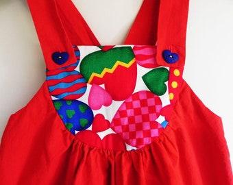 Red girls overalls with hearts, size 4T