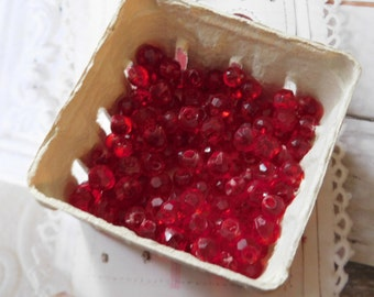 Vintage Red Lucite Beads - 50 of Them