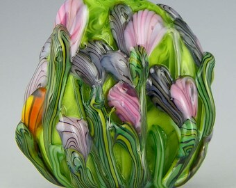 handmade lampwork glass bead a large freeform floral focal in green pink purple & orange - Wildflowers