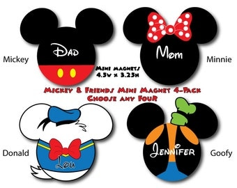 Disney Inspired Mickey & Friends Mini Size Mouse Head Magnet 4-Pack - Choose Any Four - For Your Disney Cruise