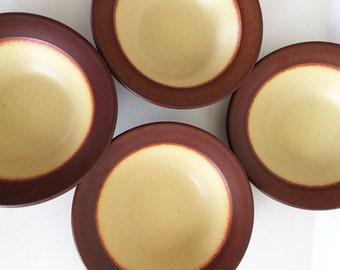Vintage Heath Ceramics Rim Bowls, Brown/Yellow,  Set of Four Small Bowls