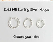 Tiny Hoop Earrings. Solid 925 Sterling Silver Hoops. Silver Hoops. Sterling Silver Hoop Earrings. Choose your Size. One PAIR (2 hoops)