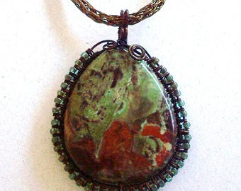 Large Teardrop Green, Rust, & Brown Jasper Gemstone Pendant with Wire Wrap Border on a Viking Knit Chain by Carol Wilson of Je t'adorn