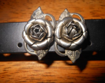 Vintage  Silver Tone Rose Screwback Earrings