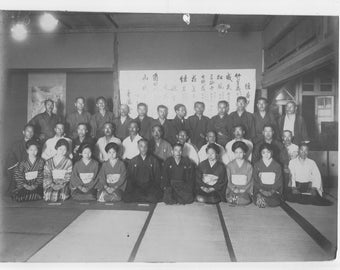 Vintage photo  black and white photo of a group of Japanese people