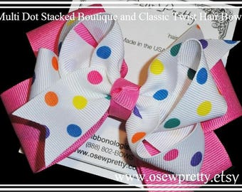Multi Dot Hair bow, Hair bows for girls, Stacked hair bows, Polka Dot ribbon hair bows, Birthday hair bows,