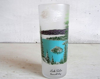 Vintage Lake Tahoe Glass | California Souvenir Glass | Frosted Glass | Lake Tahoe Souvenir | Vintage California | Emerald Bay