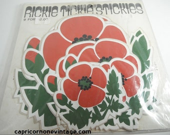 Vintage Rickie Tickie Stickies Stickers Set of 9 Red Poppy Flowers Poppies Vintage 1970s Kitsch Wall Decor 1970 Movie Prop Vinyl Decals NOS