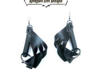 Road Rage Leather earrings, Oring fetish, Fierce, Dark, edgy: Renegade Icon Designs