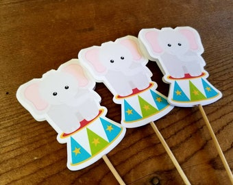 Big Top Circus Party - Set of 12 Circus Elephant Cupcake Toppers by The Birthday House