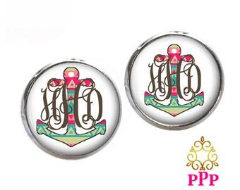 Monogram Stud Earrings, Anchor Monogram Earrings, Tribal Stud Earrings, Monogram jewelry (450)