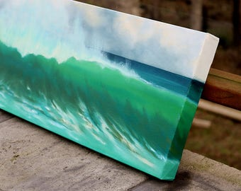 "10""x30"" original oil painting by Daina Scarola - Green Wave (beach break, surf art)"
