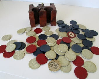Lot of 80 Vintage Poker Chips Cat Dog Monkey playing poker Plus Small Wood Poker Chip Carrier