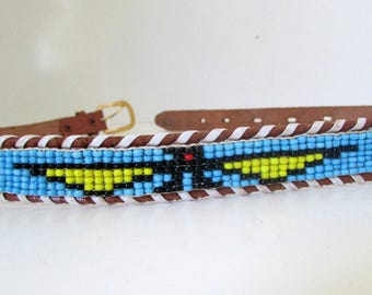 Vintage Beaded Leather Souvenir Belt Thrunderbirds Southwestern Belt  Rockabilly  Western sz 30