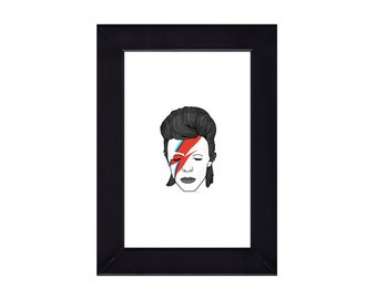 4 x 6 Framed David Bowie / Aladdin Sane Portrait